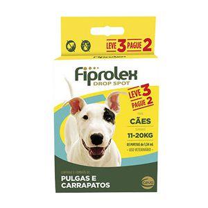 Antipulgas e Carrapatos Fiprolex Drop Spot Cães 11 a 20Kg Kit 3 Unidades Ceva