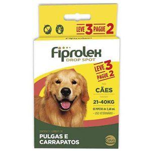 Antipulgas e Carrapatos Fiprolex Drop Spot Cães 21 a 40Kg Kit 3 Unidades Ceva