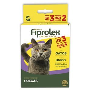 Antipulgas e Carrapatos Fiprolex Drop Spot Para Gatos Kit 3 Unidades Ceva