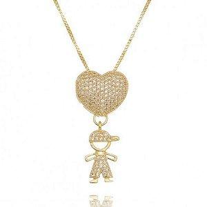 Colar Filho Coração com zirconias Cristais Folheado em ouro 18K