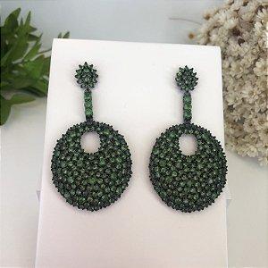 Brinco verde Zirconias Luxo Ródio Negro