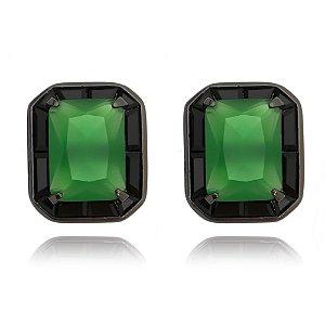 Brinco quadradinho facetado verde esmeralda ródio negro