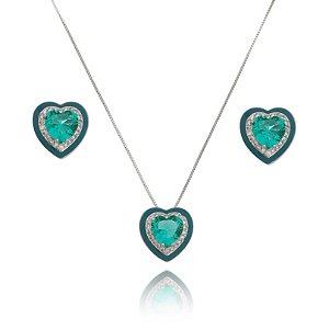 Conjunto coração esmaltado verde turmalina Ródio branco