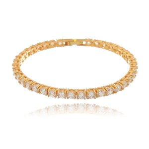 Pulseira Riviera cristal folheada ouro 18k