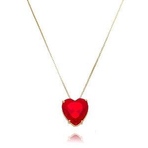 Colar e Brinco de Coração Vermelho Folheado em Ouro 18k
