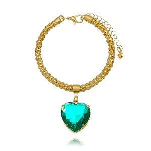 Pulseira com Pingente de Coração Verde Folheado em Ouro 18k
