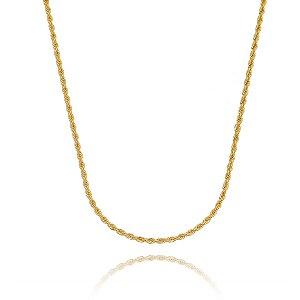 Corrente cordão baiano 3mm folheada em ouro 18k