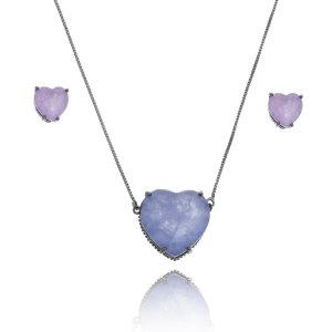 Conjunto colar e brincos de coração fusion roxo