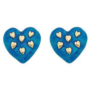 Brinco coração esmaltado azul folheado em ouro 18k