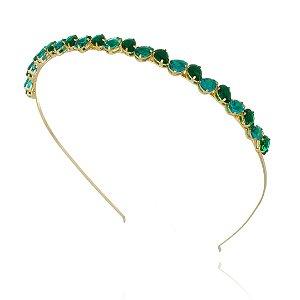 Tiara de Pedrarias Verde com Brinco gota verde Dourada