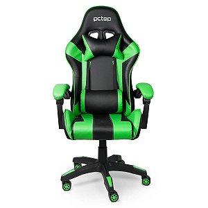 Cadeira Gamer Preta/Verde Reclinável com Almofada PcTOP PC6022