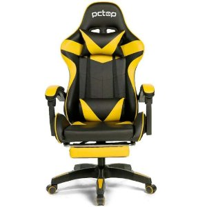 Cadeira Gamer PCTop Racer 1006 Ergonômica Preta e Amarela