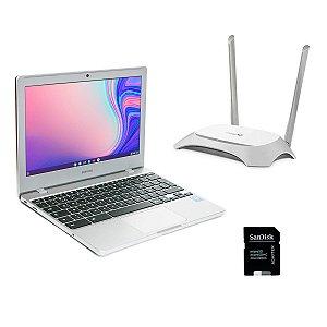 Notebook Samsung Chromebook + Roteador Wi-fi 2 Antenas + Cartão De Memória 16GB