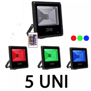Kit 5 Refletor Led Rgb 20w Slim
