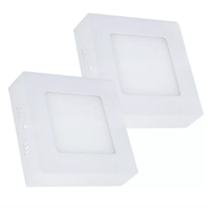 Kit 2 Painel Plafon Led Branco Frio 6w Quadrado Sobrepor
