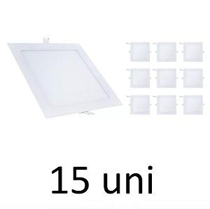 Kit 15 Painel Plafon Led Branco Frio 18w Quadrado Embutir