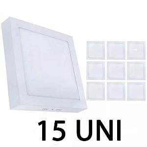 Kit 15 Painel Plafon Led Branco Frio 18w Quadrado Sobrepor