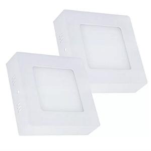 Kit 2 Painel Plafon Led Branco Quente 6w Quadrado Sobrepor