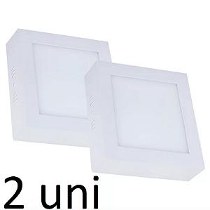 Kit 2 Painel Plafon Led Branco Quente 12w Quadrado Sobrepor