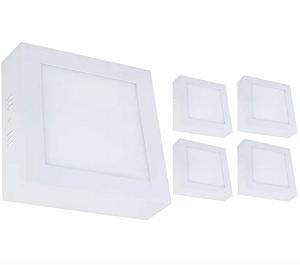 Kit 5 Painel Plafon Led 12w Quadrado Sobrepor - Branco Quente