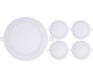 Kit 5 Painel Plafon Led Branco Quente 12w Redondo Embutir