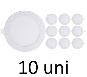 Kit 10 Painel Plafon Led Branco Quente 12w Redondo Embutir