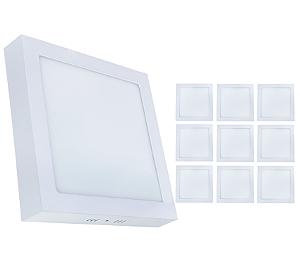 Kit 10 Painel Plafon Led 18w Quadrado Sobrepor Branco Quente