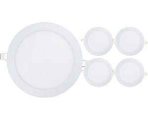 Kit 5 Plafon Led 18w Redondo Embutir - Branco Quente