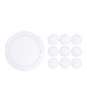 Kit 10 Painel Plafon Led 18w Redondo Sobrepor - Branco Quente