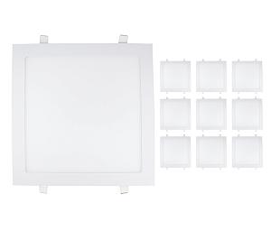 Kit 10 Painel Plafon Led 25w Quadrado - Branco Quente