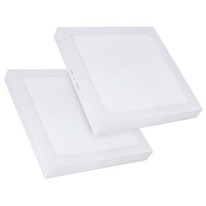 Kit 2 Painel Plafon Led Branco Quente 25w Quadrado Sobrepor
