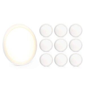 Kit 10 Painel Plafon Led 25w Branco Quente Redondo Embutir