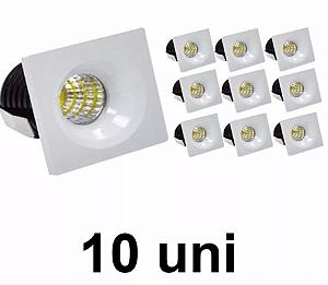 Kit 10 Mini Spot Led 3w Quadrado COB Branco Frio
