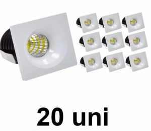 Kit 20 Mini Spot Led COB Branco Frio 3w Quadrado