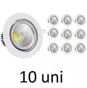Kit 10 Spot LED 7W COB Redondo Carcaça Branca - Branco Frio
