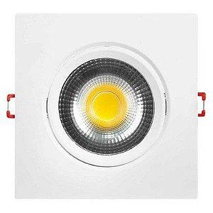 Kit 10 Spot LED Embutir 7w Direcionável Quadrado Branco Frio