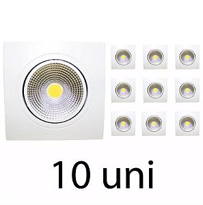 Kit 10 Spot de Led 7W COB Quadrado - Branco Quente
