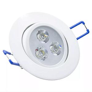 Spot LED Embutir 3w Direcionável Redondo Branco Quente
