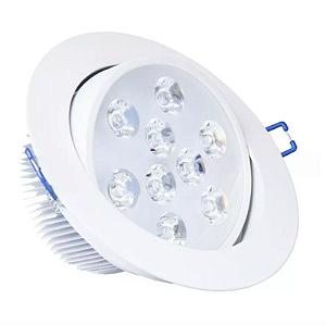 Spot LED Embutir 9w Direcionável Redondo Branco Quente