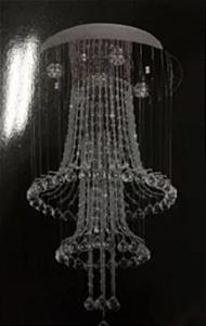 Lustre Luminária Led de Cristal Pendente Redondo 42x77cm