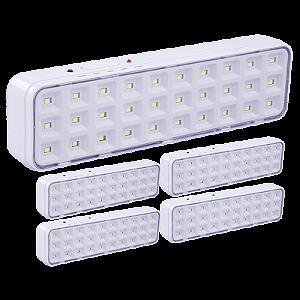 Kit 5 Luminárias de Emergência 30 LEDs Bivolt