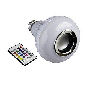 Lâmpada Led 12w Rgb Bluetooth com Caixa de Som e Controle