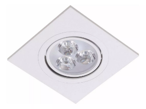 Kit 5 Spot LED Embutir 3w Direcionável Quadrado Branco Frio