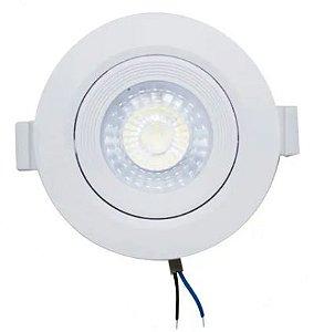 Kit 5 Spot LED Embutir 7w Direcionável Redondo Branco Frio