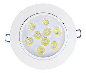 Kit 5 Spot LED Embutir 9w Direcionável Redondo Branco Quente