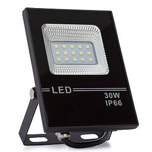 Kit 10 Refletor LED Holofote 30w Slim Branco Frio IP66