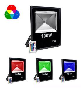 Kit 5 Refletor LED Holofote RGB 100w IP65 Bivolt