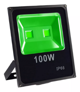 Kit 3 Refletor de LED Holofote 100w Slim Verde IP65 Bivolt