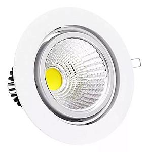 Kit 5 Spot LED 5w COB Redondo Carcaça Branca - Branco Frio