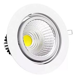 Kit 5 Spot LED 7W COB Redondo Carcaça Branca - Branco Frio